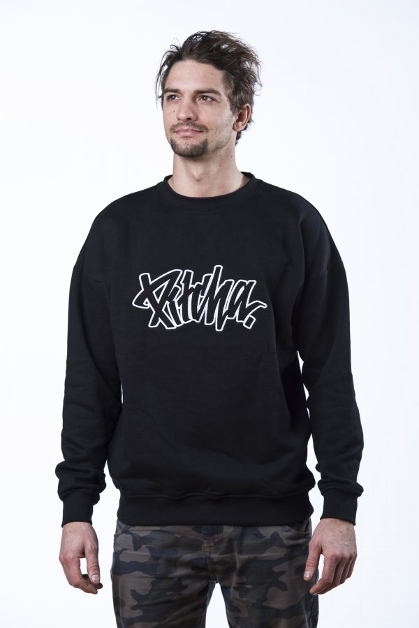 mikina Pitcha EASY Crewneck black/white