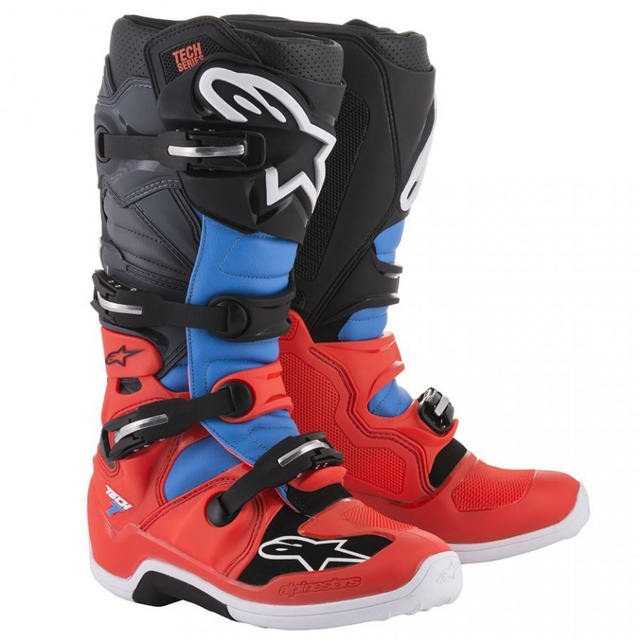 Boty Alpinestars Tech 7 2020 red fluo/blue/black/grey