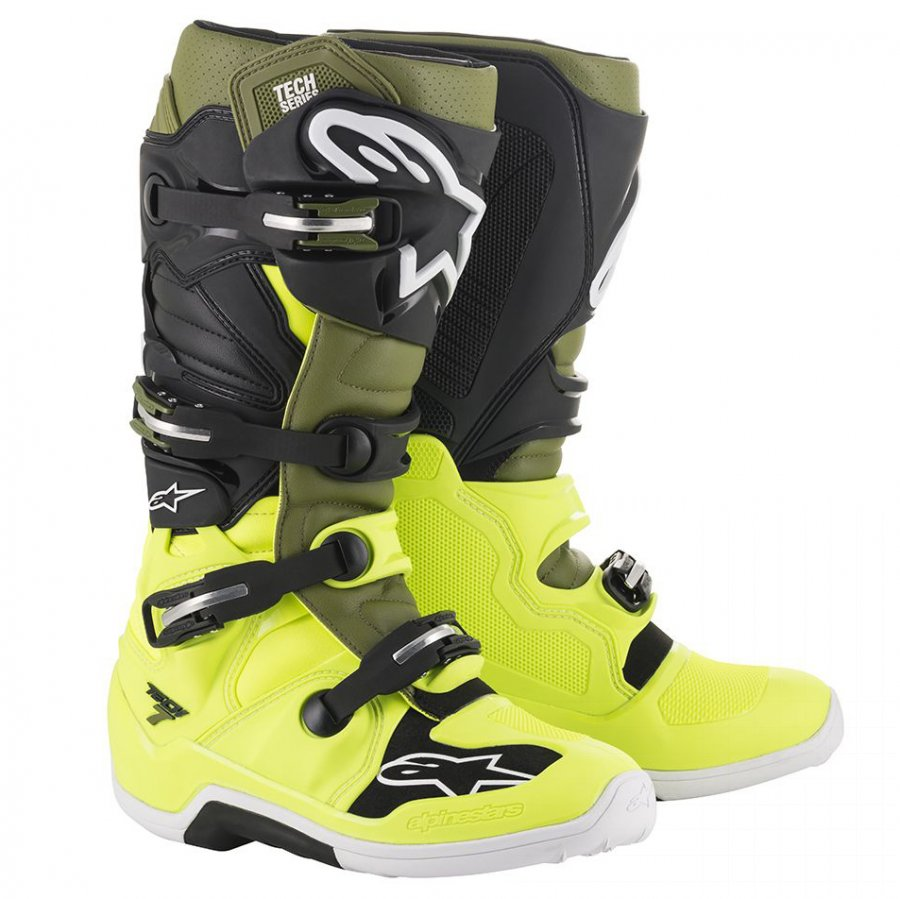 Boty Alpinestars Tech 7 2020 yellow fluo/army green/black
