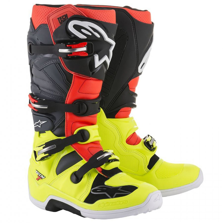 Boty Alpinestars Tech 7 yellow fluo/red fluo/black