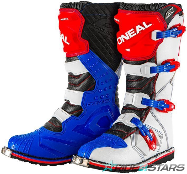 Boty ONeal Rider Boot Blue/Red/White US8