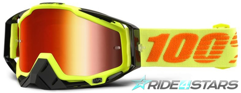 Brýle 100% Racecraft Attack Yellow Red Mirrored + Clear