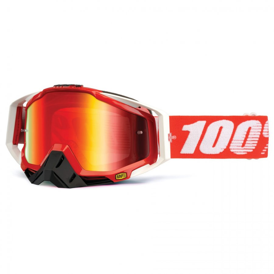 Brýle 100% Racecraft Fire red chrom lens + nose guard + 20 tears Off
