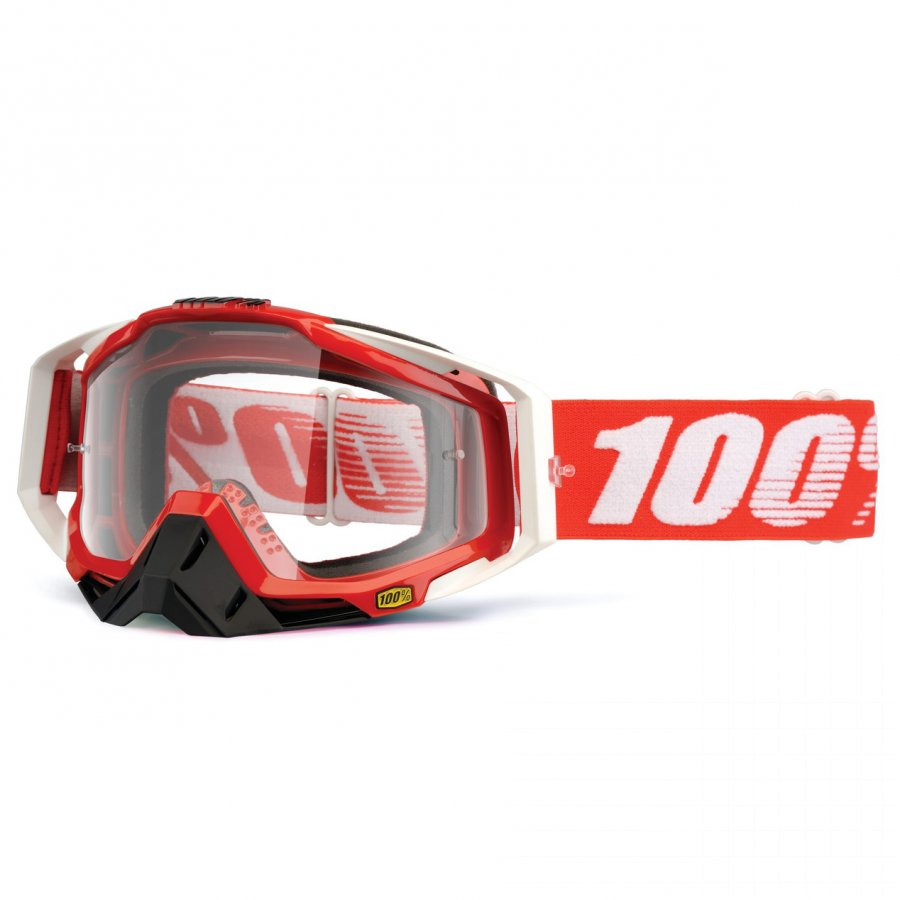 Brýle 100% Racecraft Fire Red clear lens + nose guard + 20 tears Off