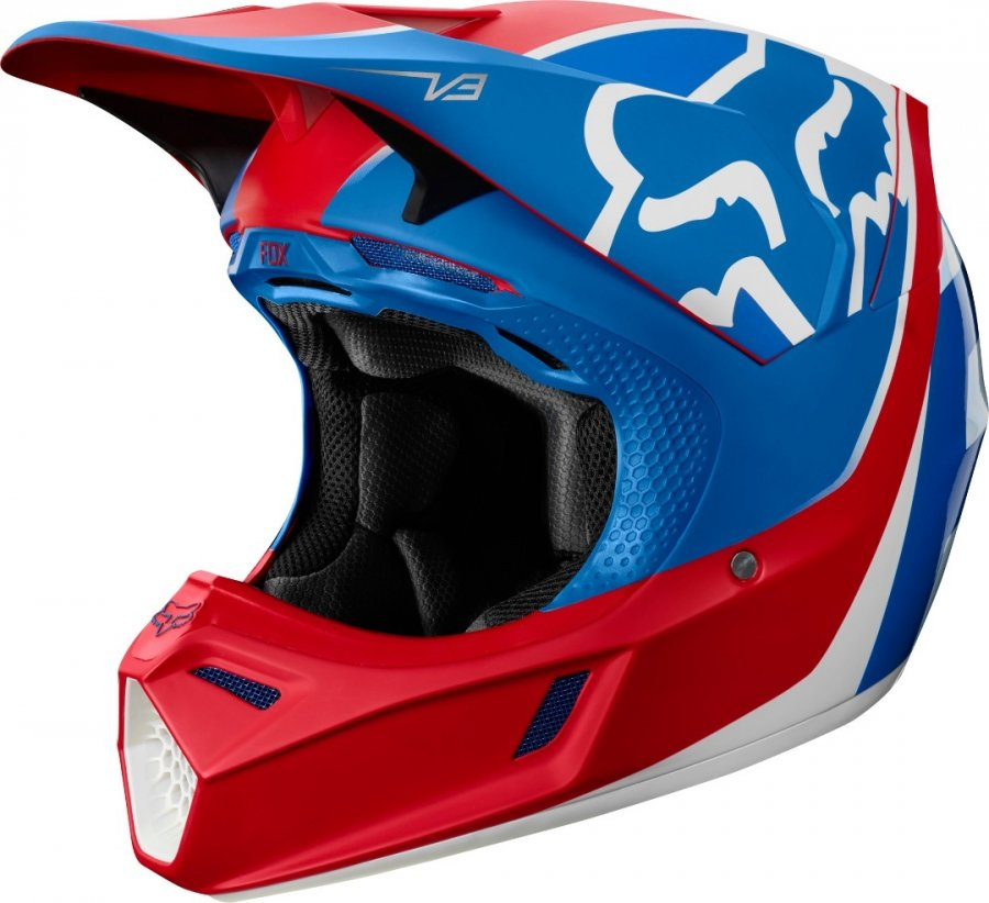helma Fox V3 Kila helmet 2019 Ece Blue/Red