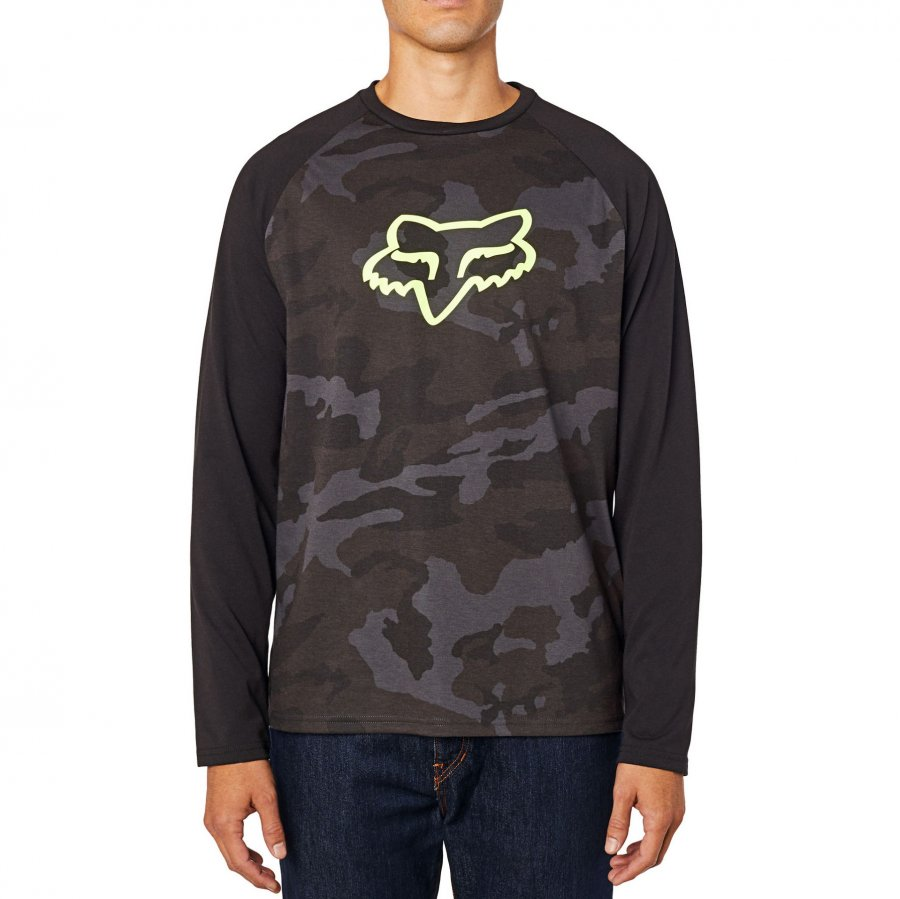 Triko Fox Tournament Camo Ls Tech Tee Black Camor