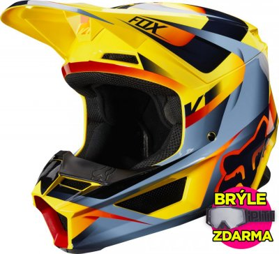 helma Fox V1 Motif helmet 2019 yellow...