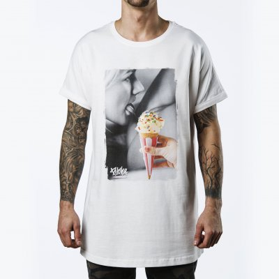 triko Pitcha LONGER tee white/icecream